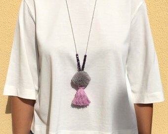 Grey & Lilac Pompom Tassel Necklace