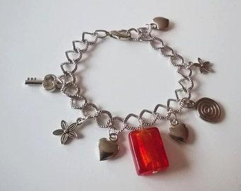 Red Murano pendant Bracelet
