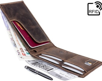 Visconti wallet - Jet - Oiled BROWN Leather