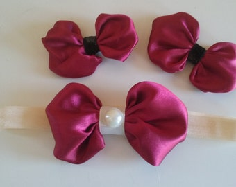 Beautiful maroon hair bows!