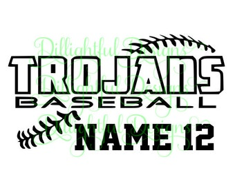 Trojan Baseball SVG Personalized School Mascot Team Decal Digital Download Trojans SIL PNG Sticker