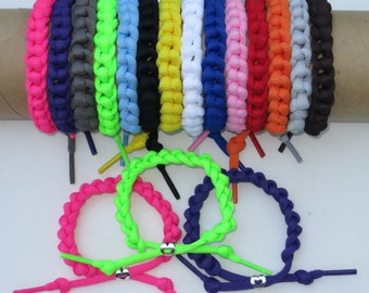 Sneaker Shoelace Lacelet Bracelet w/ Heart Charm - 14 Colors: Pink, Blue, Purple, Gray, Green, Orange, Red, Black, White, Yellow, Brown
