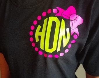 Circle Monogram with Bow, Monogram shirt, Monogram tshirt, Shirt with bow, t-shirt