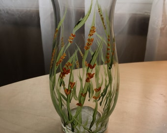 Hand painted glass with orange