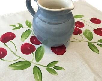 Tea towel, cherries, linen/ cotton, hand painted