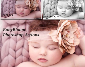 BabyBloom Newborn/Baby/Child Photoshop Actions - Essential Collection of 20 easy to use Cream tones Actions inc Essential Matte B/W