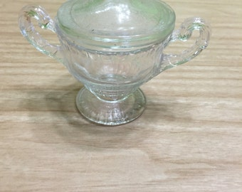 "4"" cut glass decorative jar with lid"