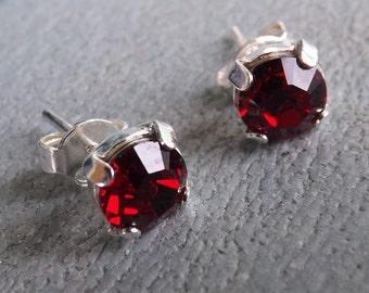 "Earrings Swarovski 6 mm ""siam"" and Silver 925"