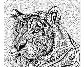 Zentangle Tiger Etsy FR