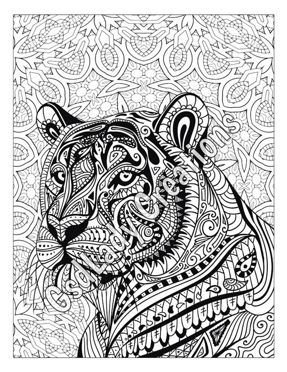 coloring pages patterns | Zen Tiger Animal Art Page To Color Zentangle Animal