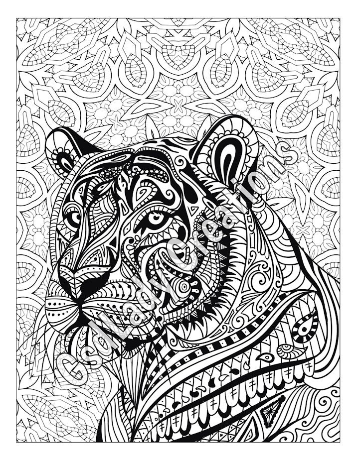 zen tiger animal art page to color zentangle animal. Black Bedroom Furniture Sets. Home Design Ideas