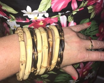 Natural Bamboo Bangles set of 8