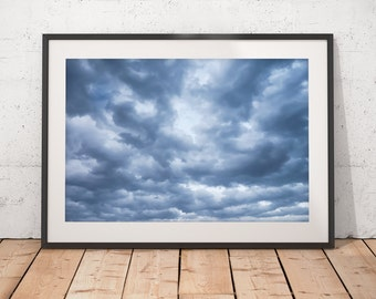 Dramatic Sky Abstract Art, Moody Clouds Photograph, Low Level Dark Skies, Blue Decor, Printable Art, Digital Download