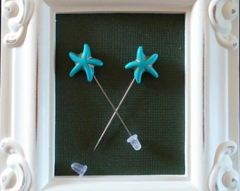 Turquoise Starfish Counting Pins -Set of 2