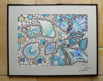abstract painting in blue, turquoise and silver