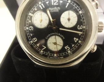 gents swatch chronograph watch with black strap