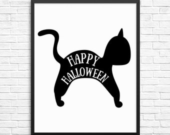 Halloween Print, Happy Halloween Sign, Halloween Printable Decor, Black Cat Print, Halloween Poster,  Instant Download Printable