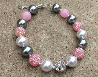 pink,silver,girls necklace,toddler,photo prop, first,2nd, birthday,gray,chunky,bubblegum,beaded,gift,girls,toddler,jewelry