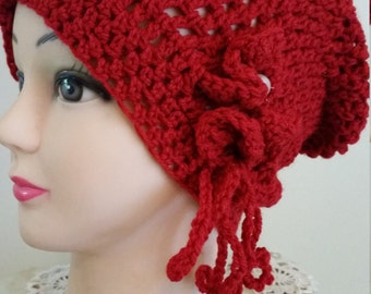 Slightly slouch crochet flower hat