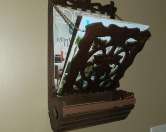 Wonderful Antique Carved Wall Mounted Magazine/Letter Holder