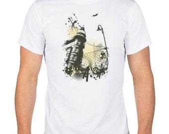 Urban Art Men's T-Shirt.Creative Cotton T-Shirt. Screen Printed Shirt. White T-shirt.
