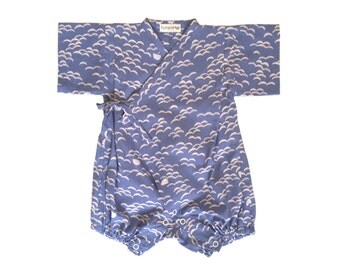 Baby kimono, rompers jinbei, NAMI BLUE, fabric by Atelierbrunette