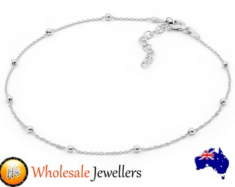 New 925 Sterling Silver Ball Bead Chain Anklet