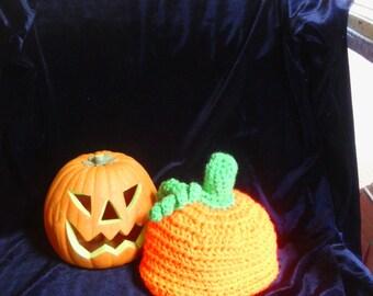 pumpkin crocheted  baby hat