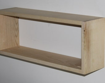 """Solid White Ash Real Wood Floating Rectangular Box Shelf, 24.5"""" x 9.5"""" and 6"""" deep, Contemporary, DVD, CD, or Book Shelf, Handmade"""