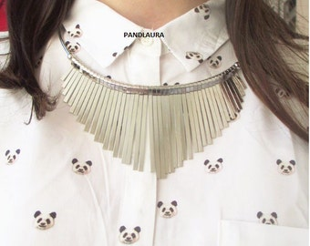 Silver metal bib necklace