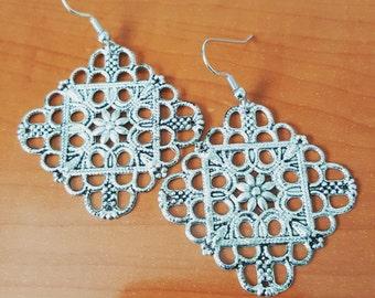 Silver open-work earrings