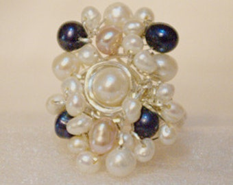 Fresh water pearls multi colored  & Sterling silver wire ring