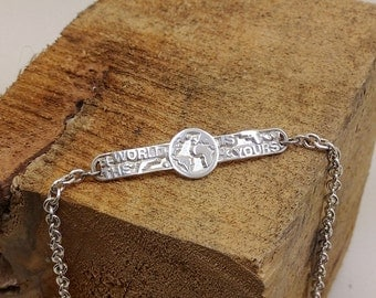 """Movie Scarface quote """"The World is yours"""" baby sterling silver bracelet"""