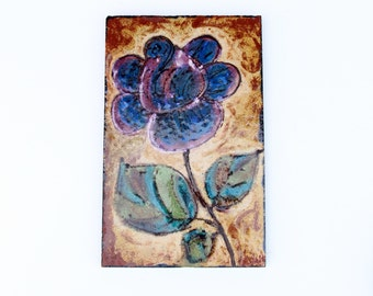 Vintage enamelled wall decoration of driveway-Floral-Retro