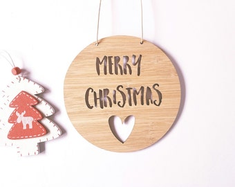 Merry Christmas Wooden Bamboo Door / Wall Hanging with Heart 14cm or 19.5cm