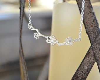 Flower on branch necklace