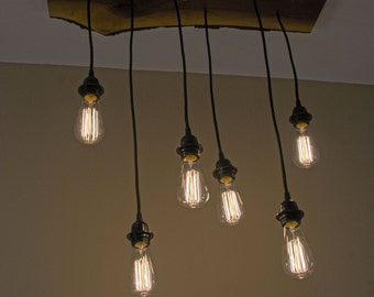 6 Pendant Staircase Hanging Edison Bulb Chandelier with Live Edge Walnut Medallion