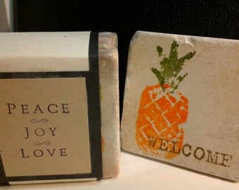 Tile Coasters, set of 4, Handstamped
