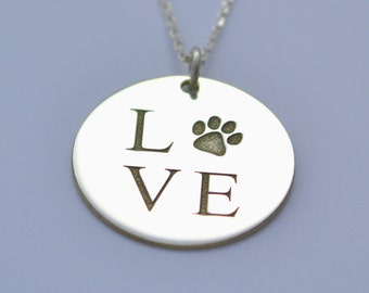 Love with paw necklace