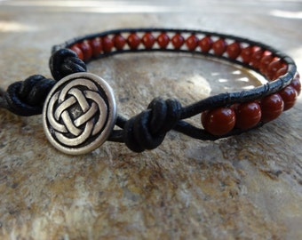 Mens 6mm Red Jasper Natural Gemstone Single Wrap Black Leather Bracelet With an Irish Celtic Knot Button Beaded Natural Gemstone
