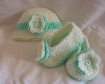 Crochet Beanie and Booties set in Mint(light) green and Ivory. Also in Laguna(dark) green and Ivory