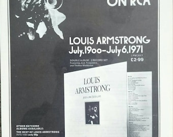 A4 1970's Jazz Louis Armstrong Vinyl Advert Framed