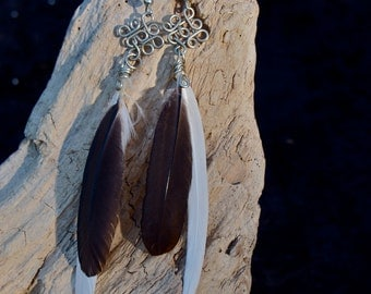 Black white feather earrings