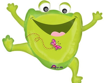 "Large Frog Balloon-30"" Mylar Balloon- Princess and the Frog"