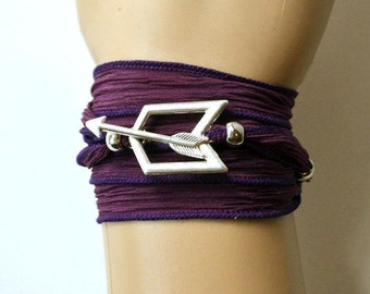 Hawkeye Purple Silk Wrap Bracelet with Toggle Closure, Fully Adjustable