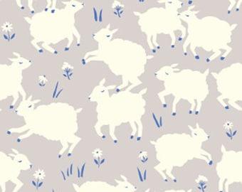 Organic Cotton Knit Fabric - Birch Fabrics - Little Lamb Fog - Gray Lamb Organic Cotton Knit Fabric