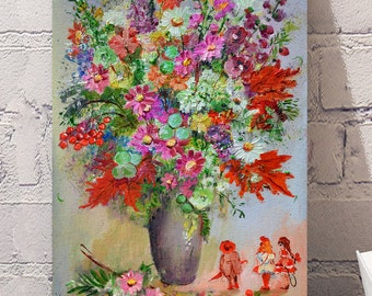 Autumn flowers  Original oil painting on canvas.