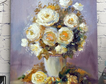 Summer roses. Original oil painting on canvas.