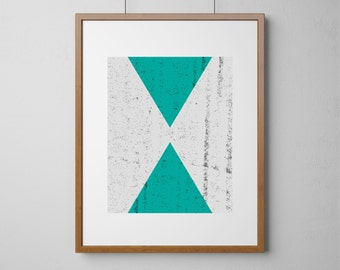 Textured Opposing Triangles Print in Turquoise