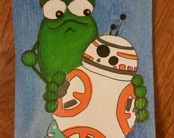 Aceo original BB8 with Frog Starwars